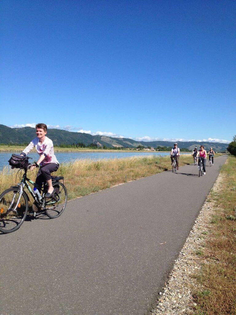 En let rute på den nyanlagte cykelsti ViaRhôna